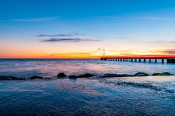 Pier at sunset on the beautiful mediterranean see