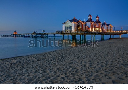 Pier at the Baltic Sea in the evening
