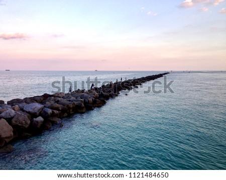 Pier Fishing, Miami Beach  #1121484650