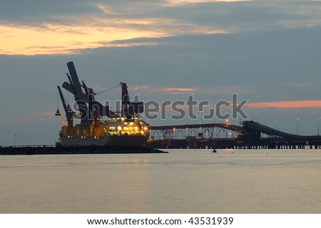 Pier for the loading of coal ships at the port of Gdansk, Poland.