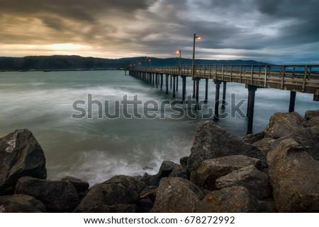 Pier in Crescent City, California; long exposure, dramatic, harbor