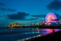Pier in Santa Monica at night, Los Angeles, California, USA