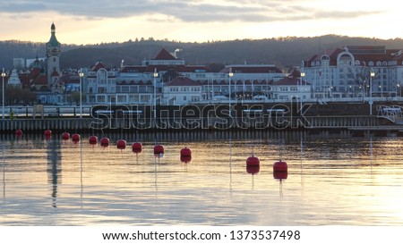 Pier in Sopot (Molo w Sopocie), 0,5 long wooden pier in polish seaside city Sopot during late evening sunset, popular summer destination, Pomerania region, Baltic coast, Poland, Eastern Europe