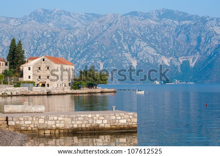 Pier in the bay of Kotor, Montenegro