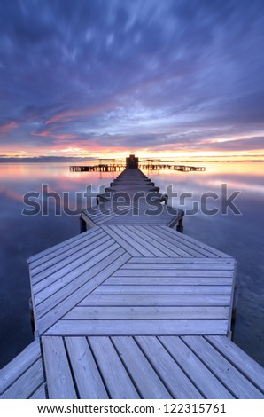 Pier in zigzag at twilight