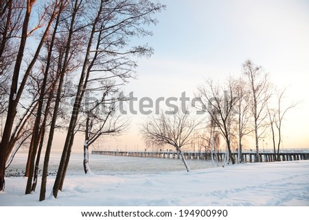 Pier, jetty  on the sea - ice - floe. Poland, Gdynia