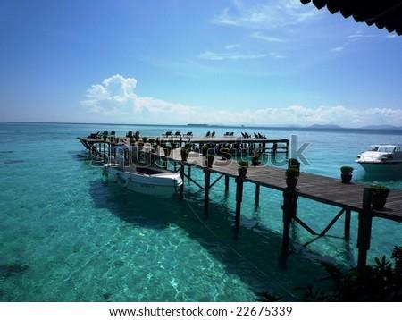Pier, Kapalai Islands Sabah, Malaysia - stock photo