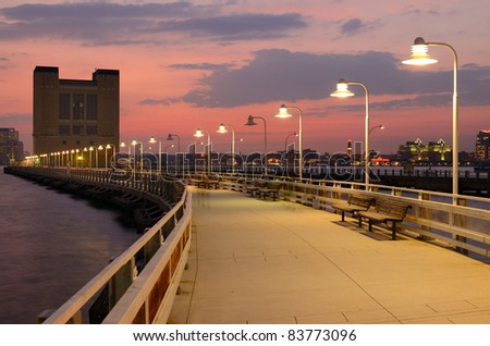Pier 34 on the Hudson River in New York City is a recreational spot which lies directly above the Holland Tunnel.
