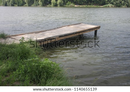 pier on the river, pier for fishing #1140655139