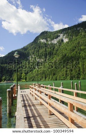 Pier over the lake in koenigssee, berchtesgarden, germany