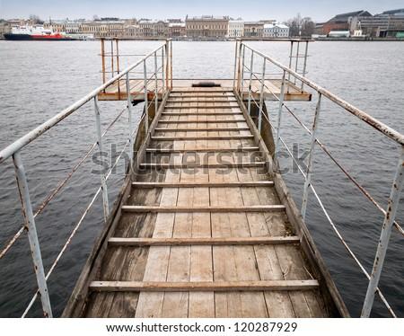 Pier perspective. Neva river, St.Petersburg, Russia