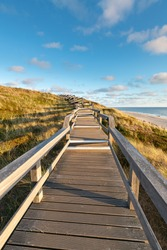 Pier promenade along the North Sea coast on the island of Sylt, Schleswig-Holstein, Germany