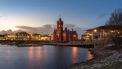 Pierhead Building, a Grade One listed building of the National Assembly for Wales in Cardiff Bay, Wales. A Cardiff's landmark taken from Cardiff Bay.
