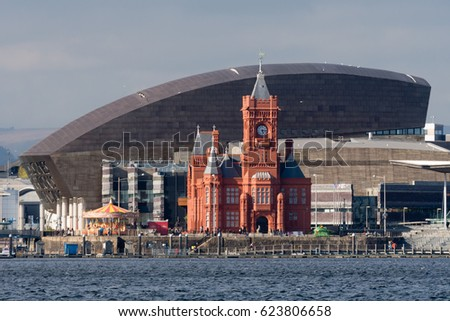 Pierhead Building and Wales Millenium Centre in Cardiff. Grade I listed building of the National Assembly for Wales in Cardiff Bay, Wales, UK