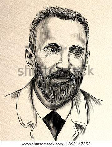 Pierre Curie (b.1859)  was a French physicist, a pioneer in crystallography, magnetism, piezoelectricity, and radioactivity. In 1903, he received the Nobel Prize in Physics Photo stock ©