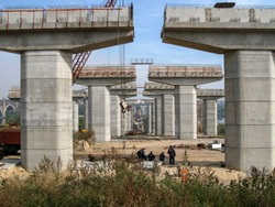 Piers of a bridge under construction in perspective