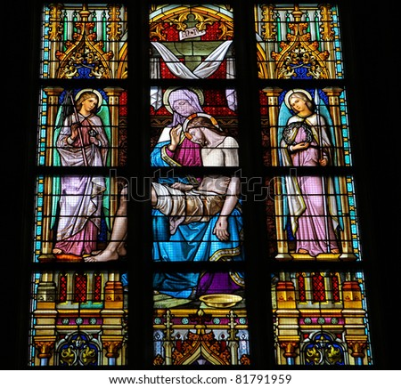 Pieta - Stained Glass Window in Den Bosch Cathedral, North Brabant, Netherlands