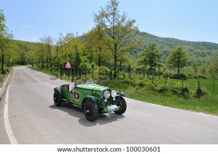 PIEVE SANTO STEFANO (AR), ITALY - MAY 13: Christopher Lunn drives a green 1931 built Talbot AV 105 vintage car during a time trial at 1000 Miglia race on May 13, 2011 near Pieve Santo Stefano (AR)