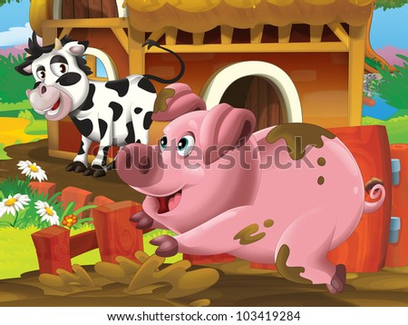 pig and cow playing