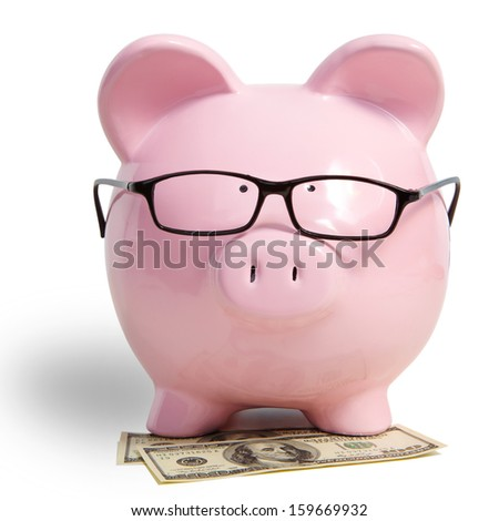 Pig bank and dollars on a white background