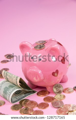 Pig bank with hearts