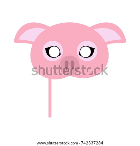 Pig carnival mask  illustration in flat style. Pink pig domestic animal face. Funny childish masquerade mask isolated on white. New Year masque for festivals, holiday dress code for kids