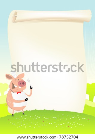 Pig Cook Field Banner/ Illustration of a happy cartoon pig in spring landscape with parchment poster background menu