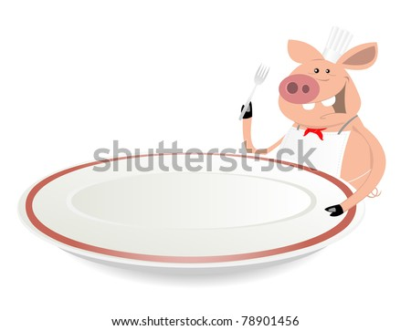 Pig Cook Restaurant Banner/ Illustration of a funny pig cook holding fork and plate for advertisement sign