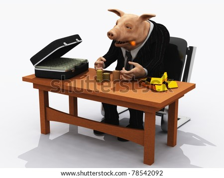 Pig in suit counts his wealth  metaphor for greed - stock photo