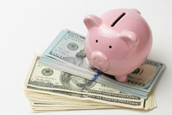 Pig piggy bank on the background of 100 US dollar bills. Concept of wealth and exchange.