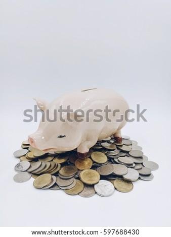Pig saving money, A lot of coins #597688430