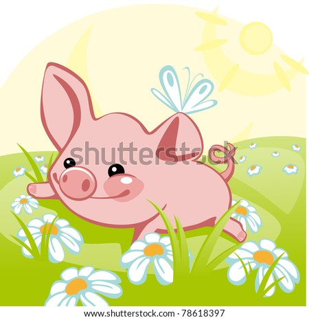 pig sitting on a flower meadow.