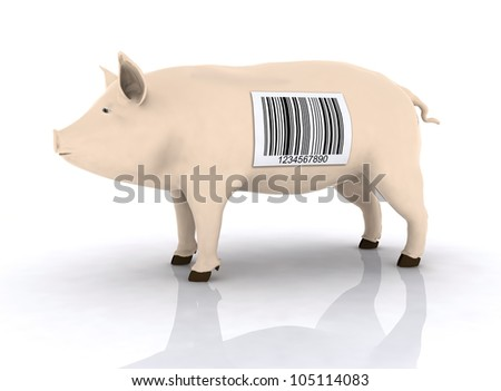 pig with bar code on the body, 3d illustration