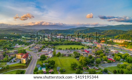 Pigeon Forge and Sevierville Tennessee Drone Aerial. Stock fotó ©
