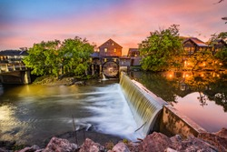 Pigeon Forge Tennessee TN Old Mill at Sunrise.