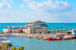 Pigeon Island with Pirate castle - Kusadasi harbor, Aegean coast of Turkey