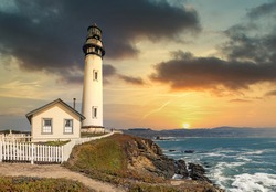 Pigeon Point lighthouse against the backdrop of a beautiful sky, and ocean with waves, a great landscape of the Pacific coast in California