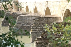 Pigeons roosting on ancient stone steps at the foot of an arched bridge. River water below. The view is taken from between the trees. Summer and bright sandstone arches behind