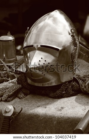 Pigface Bascinet. Pointed Armour Helmet