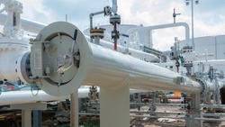 Pigging receiver  pipelines construction oil and gas field on land. Pig  luncher  for Installation a versatile type of pipeline cleaning device. Equipment for Construction of Oil and Gas Pipeline.