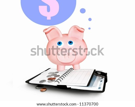 Piggy bank accounting and a dollar speech bubble