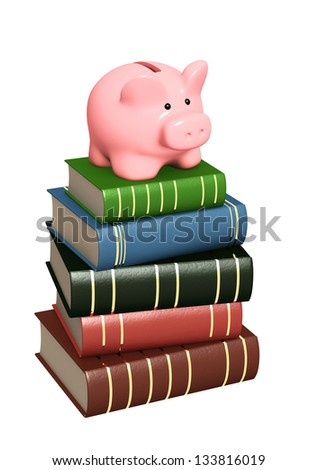 Piggy bank and books. Objects isolated over white