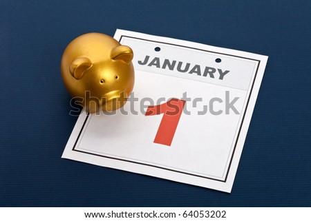 Piggy Bank and calendar, Finance concept