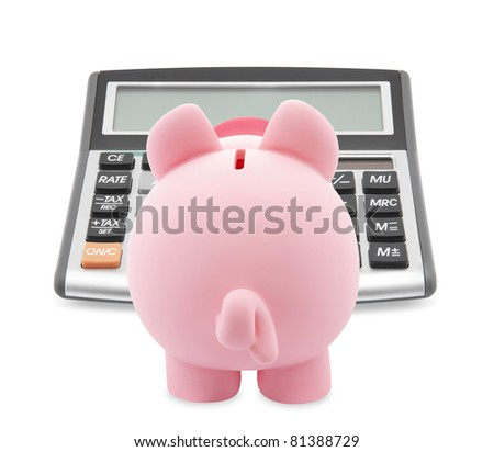 Piggy bank and callculator isolated on white background