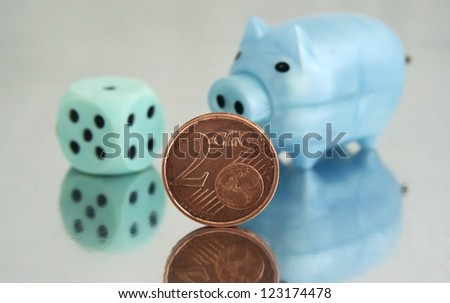 Piggy bank and 2 cents