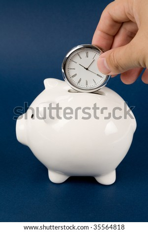 Piggy Bank and clock, Business concept