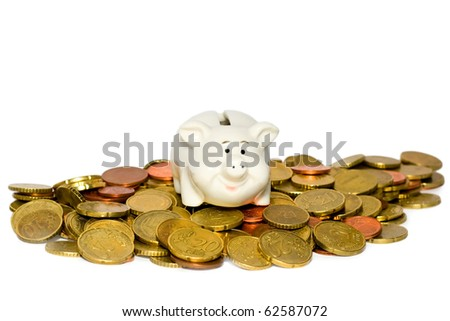 Piggy bank and coin isolated on white background