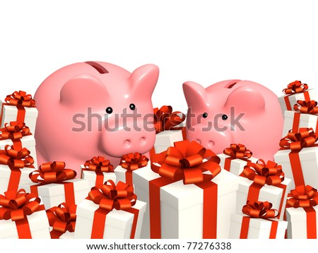 Piggy bank and gifts. Isolated over white