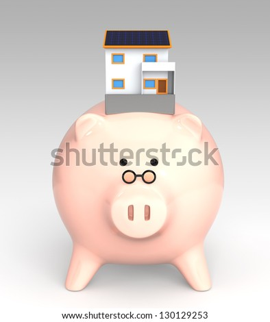piggy bank and house with solar pane