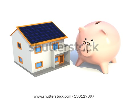 piggy bank and house with solar panel(saving energy concept)